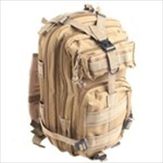 Military Nylon Oxford Waterproof 3P Tactical Backpack Bag with Adjustable Strap - Earthy