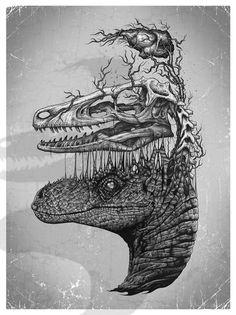 Mind Blowing Pen And Ink Illustrations By Paul Jackson - Neatorama Ink Illustrations, Illustration Art, Dinosaur Illustration, Paul Jackson, Animal Skeletons, Jurassic Park World, Jurassic Park Tattoo, Dinosaur Art, Prehistoric Creatures