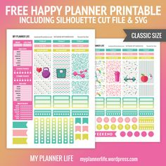 Free Printable Keep Fit Planner Stickers {including Silhouette Cut Files & SVG} from My Planner Life