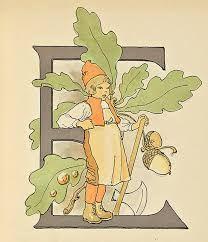 Letter E - Ottilia Adelborg artist Alphabet Print, Letter E, Alphabet And Numbers, Vintage Greeting Cards, Vintage Posters, Autumn, Fall, Artist, Prints