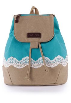 $40.99 USD   [grzxy6200075]Leisure Fresh Lace Spliced Canvas Backpack   Style: Leisure/ Fresh  Feature: Lace Spliced  Fashion Element: Mixing Color  Color: Blue  Material: Canvas