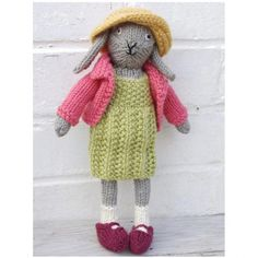 This pattern is for an adorable bunny rabbit complete with girly outfit and is part of a range of knitting patterns created by Fiona Goble for quirky and affordable items you can make for friends or just keep yourself. The finished bunny is about tall. Knitting Kits, Knitting Stitches, Baby Knitting, Knitting Patterns, Rabbit Baby, Rabbit Toys, Bunny Toys, Cute Bunny, Stuffed Toys Patterns