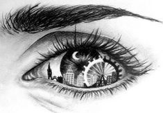 city, drawing, eye, moon, sketch