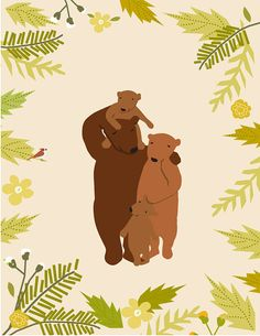 custom portrait family of bears original от LizzyClara на Etsy