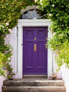 Front Door Paint Colors - Want a quick makeover? Paint your front door a different color. Here a pretty front door color ideas to improve your home's curb appeal and add more style! Purple Front Doors, Purple Door, Painted Front Doors, Front Door Colors, The Doors, Windows And Doors, Door Paint Colors, Foyers, Home Living