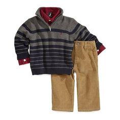 Nautica Baby Boys Charcoal Variegated Stripe Sweater 3 Piece Set