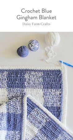 Free Pattern - Crochet Blue Gingham Blanket #moderncrochet #freecrochetpattern Crochet Things, Learn To Crochet, Crochet Gifts, Crochet Baby, Knit Crochet, Knit Blankets, Soft Baby Blankets, Modern Crochet Patterns, Farm Crafts