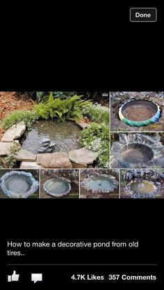 Recycled tires for a pond