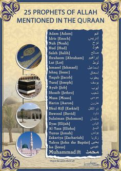 25 Prophets of Allah mentioned in the Quran Subhanallah it is best ever poster that is enhance your knowing regard 25 prophet of Allah