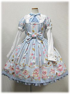 Wonder Party OP by Angelic Pretty Victorian Fashion, Gothic Fashion, Asian Fashion, Mori Girl Fashion, Lolita Fashion, Harajuku, Angelic Pretty, Pretty And Cute, Knee Length Dresses