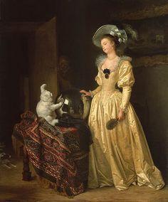 * Le chat angora Jean-Honoré Fragonard et Marguerite Gérard  (1732–1806)  belle-soeur, élève de Fragonard et sa collaboratrice