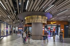 Column design / Signage / Ceiling design / Mall corridor at Shaw Centre Singapore by DP Design Mall Design, Retail Design, Store Design, Sign Design, Commercial Interior Design, Commercial Interiors, Shoping Mall, Shopping Mall Interior, Corridor Design