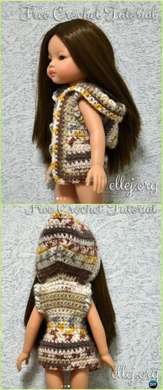 Crochet Doll Hoodie Vest Free Pattern - Crochet Barbie Fashion Doll Clothes Outfits Free Patterns