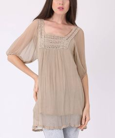 LAKLOOK Taupe Crochet Silk Square Neck Tunic by LAKLOOK #zulily #zulilyfinds
