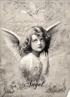 Vintage girl angel Digital collage p1022 free for personal use