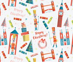 Holiday Placemats Set of 4 Festive Decor Cloth Placemats by Spoonflower - Happy English Christmas by edward/_elementary
