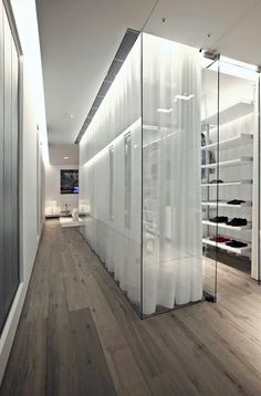Glass Case + Curtain storage