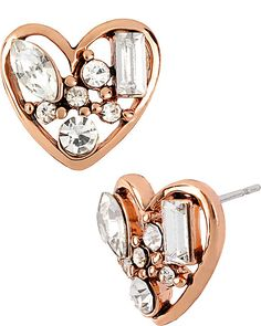 ICONIC CRYSTAL HEART STUD CLEAR accessories jewelry earrings fashion