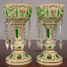 Mantle lustres | 124: Pair Bohemian White Cut to Green Mantle Lusters : Lot 124