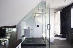 Luxury Bathroom - contemporary - bathroom - london - by Increation Bathroom Toilets, Bathroom Renos, Bad Inspiration, Bathroom Inspiration, Contemporary Bathrooms, Modern Bathroom, Ceiling Shower Head, Douche Design, Slanted Ceiling