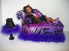 Monster High Homemade Furniture | Furniture for Monster High Dolls Handmade Chaise Lounge Bed for ...