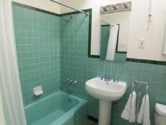 Retro Tile Bathroom green and black tile bathroom | mint green and black retro