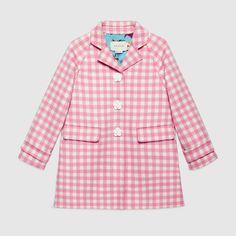 Children's wool blend check coat