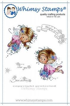 """Whimsy Stamps/Wee Stamps """"Flower Fairies"""" Rubber Stamp"""