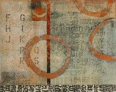 "Entitled to Play, by Anne Moore, monotype with collage, 13""X 16"""