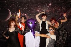 Photo booth at a space-themed wedding!