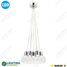 7 Light Sunset Led Chrome With Clear Gl Ball Pendant Lighting Illusions Online