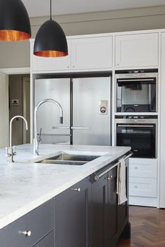Provincial Kitchens is a bespoke kitchen design company that is commited to building exquisite kitchens, bathrooms and interiors for your home. Ikea, Layout, Bespoke Kitchens, Shaker Style, Brass Pendant, Pendant Lights, Grey And White, The Hamptons, Modern