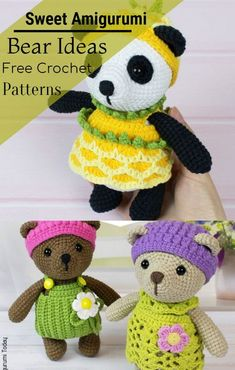 Free Crochet Bear Patterns,Bear Amigurumi Crochet Pattern-I have rounded up a huge list of free crochet teddy bear patterns for you to get inspired by these cute and soft teddy bears. You could absolutely make them with your own crochet hooks. Crochet Panda, Crochet Teddy Bear Pattern, Crochet Baby Hat Patterns, Crochet Bunny, Crochet Baby Hats, Crochet Patterns Amigurumi, Crochet Hooks, Free Crochet, Crochet Animals