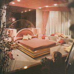 Interior featured in Architectural Digest, 1982 – regrammed from + orig. 80s Interior Design, 1980s Interior, Home Interior, Interior Paint, Retro Home Decor, Cheap Home Decor, Gold Bedroom, Bedroom Decor, Bedroom Bed
