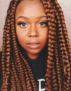 Caramel Brown Jumbo Box Braids Style