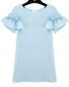 Blue Ruffle Short Sleeve Slim Dress 16.33