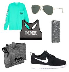 """""""Lazy days are everything"""" by ebony8281 ❤ liked on Polyvore featuring NIKE, Ray-Ban and Victoria's Secret"""
