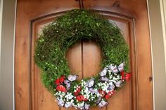 Spring Wreath White Flower, Red And Grey Beautiful Butterfly And Green Plants Decorations
