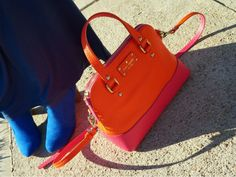 Blue Suede Boots. Orange and Pink Kate Spade Bag. Blue Rose Athena Dress. Worn by The Haute Muslimah.