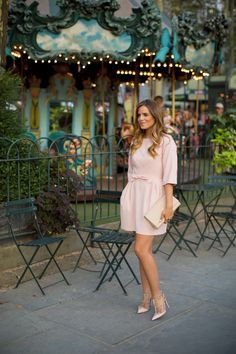 Light Pink Bow Dress With Leather Clutch Purse