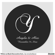 White on Black Decorative Script Monogram Y Classic Round Sticker Monogram Gifts, Christmas Card Holders, Round Stickers, Custom Stickers, Keep It Cleaner, Holiday Cards, Script, Activities For Kids, Branding