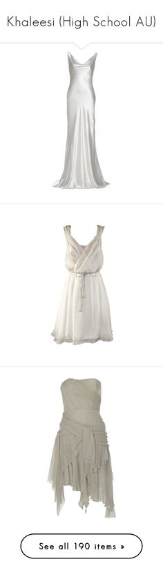 """Khaleesi (High School AU)"" by cherubicwindigo ❤ liked on Polyvore featuring dresses, gowns, wedding dresses, long dresses, wedding, bibi, vestidos, short dresses, white and white silk dress"
