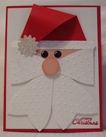 In My Craft Room - Stamping With Glenda: Santa Head - Gift Bow Die cased Christmas Card Crafts, Homemade Christmas Cards, Christmas Cards To Make, Homemade Cards, Handmade Christmas, Holiday Cards, Christmas Decorations, Santa Cards Handmade, Christmas Bows
