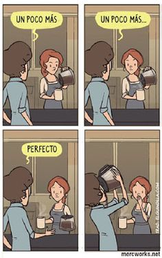Un poco más de café. I only pinned this because I can read it. I Love Coffee, My Coffee, Coffee Talk, Cafe Quotes, Funny Images, Funny Pictures, Spanish Jokes, Spanish Sentences, Funny Spanish