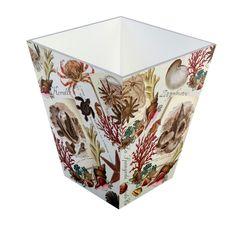 TSC Giftables Nautical Diary Manufactured Wood Trash Can Wooden, Decorative Boxes, Coastal, Nautical, Home Decor, Wood Trash Can, Waste Basket, Shells, Large Laundry Basket