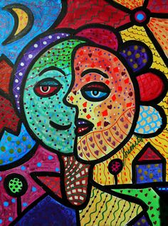 Folk Art Painting Abstract Modern Happy Couple Sun by prisarts, $450.00