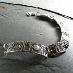Moonlight No. 5, Moon and Trees Bracelet, Handmade Continuous Links in Recycled Silver, Artisan Original by SilverWishes #handmadesilverjewelry