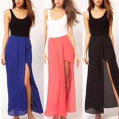 DropShipping Sexy Womens Open Side Split Dress Summer Solid Chiffon Long Maxi dresses Boho S M L Free Shipping $9.89