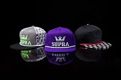 The new SUPRA slider hats are created from the same unique materials and color stories found in the footwear collection.