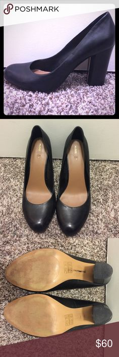 Classic Black Leather ALDO Pump Perfect pair of classic heels! Genuine leather, size 10. Worn once for my best friend's wedding, these are pretty much good as new. Aldo Shoes Heels